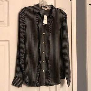Brand new ruffled Loft button-down blouse
